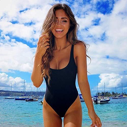 PRETTYGARDEN Women's Simple Low Cut Sides Wide Straps High Legs One-Piece Swimsuit Black