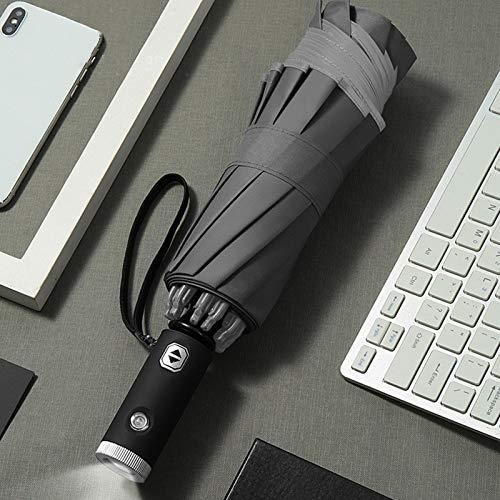 Horypt Paraguas reflectante LED invertido con mango de linterna LED para 1 o 2 personas
