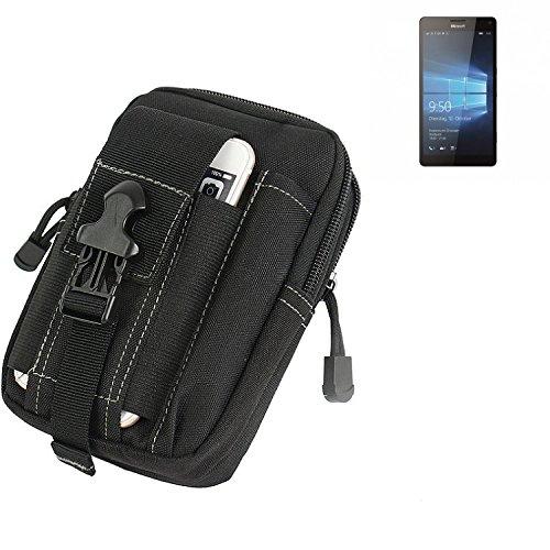 K-S-Trade Gürtel Tasche Für Microsoft Lumia 950 XL Gürteltasche Holster Schutzhülle Handy Hülle Smartphone Outdoor Handyhülle Schwarz Zusatzfächer