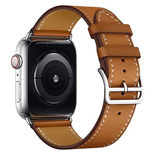 LIANYG Correa De Reloj Banda de Reloj de Cuero 40mm 44mm Correa de Pulsera 493 (Band Color : Brown, Band Width : 44mm)