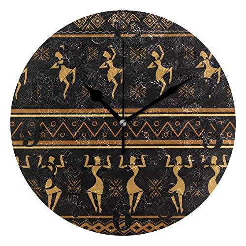 Mesllings Reloj de pared clásico étnico africano negro para mujer, redondo, sin tictac, funciona con pilas, de cuarzo, decoración para el hogar, sala de estar, dormitorio, oficina