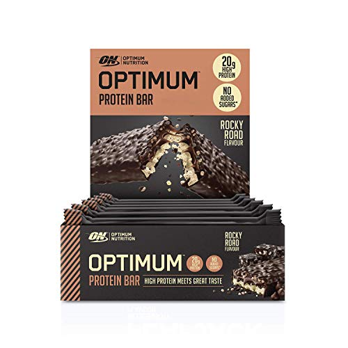 Optimum Nutrition Protein Bar with Whey Protein Isolate, Low Carb High Protein Snacks with No Added Sugar, Rocky Road, 10 Bar (10 x 60 g)