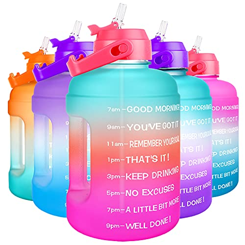 BuildLife Motivational Water Bottle 2.2L - Large Capacity Water Jug with...