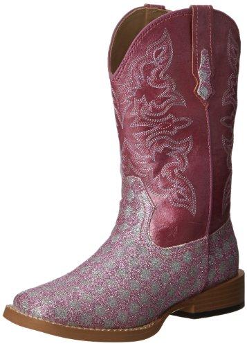 Roper SquareToe Glitter Checkerboard Western Boot (Toddler/Little Kid),Pink/Silver,6 M US Toddler