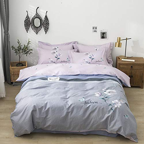 ZHUANQIAN Bedding set Pillowcase Single Double Full Queen Bedspread Ultra Soft Sets Bedroom Duvet Cover Fashion Striped flowers