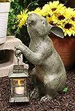 "Ebros Verdi Green Aluminum Whimsical Bunny Rabbit Holding Rustic Lantern Votive Candle Light Holder Indoor Outdoor Garden Statue 15"" Tall Candleholder Home Lawn Patio Decor of Rabbits Hares Bunnies"