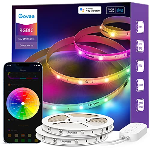 Govee 65.6ft RGBIC Alexa LED Light Strip, Smart LED Lights Work with Alexa and Google Assistant, Segmented DIY, Music Sync, WiFi App Control Color Changing LED Strip Lights for Bedroom, Living Room