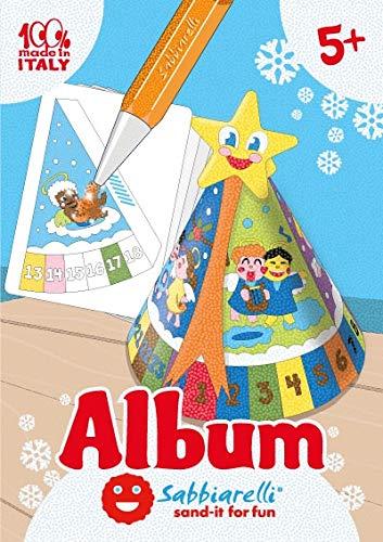 Sabbiarelli Sand-it For Fun - Álbum 3D Christmas Clock Tower: 1 Calendario de Adviento de Navidad para ensamblar y Colorear con Arena, 5 Hojas pre-pegadas. Adecuado para niños de 5+ años
