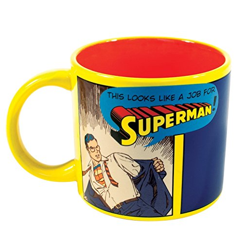 Job for Superman Heat Changing Mug - Add Coffee or Tea and Clark Kent Transforms into The Man of Steel - Comes in a Fun Gift Box