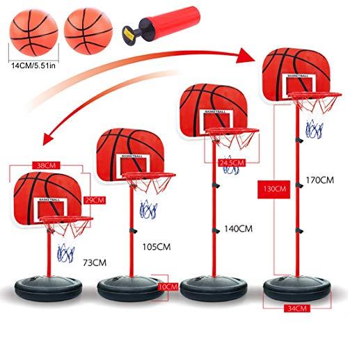 MRKE Basketballkorb Kinder, 73-170 cm Basketballständer mit Ständer Höhenverstellbar Basketball-Backboard Ständer Hoop Set für Kinder