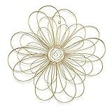 Stratton Home Decor S07729 - Decoración para pared, diseño de flores de alambre, 21,50 x 0,50 x 21,50 cm, color dorado