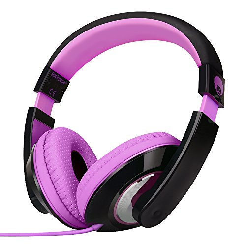 Rockpapa Comfort Cuffie con Cavo, Regolabile, Over-Ear Headphones per Telefono, Compressa, PC, Scuola, MP3/4 DVD, iPod iPad Nero Viola