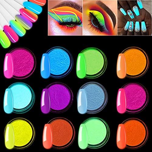 EBANKU Pigmento de Uñas en Polvo, 12 Colores de Uñas de Arte Brillo Fluorescente Luminiscente Polvo Profesional Neon Night Glow Luminescent Pigmento para Bricolaje Decoraciones