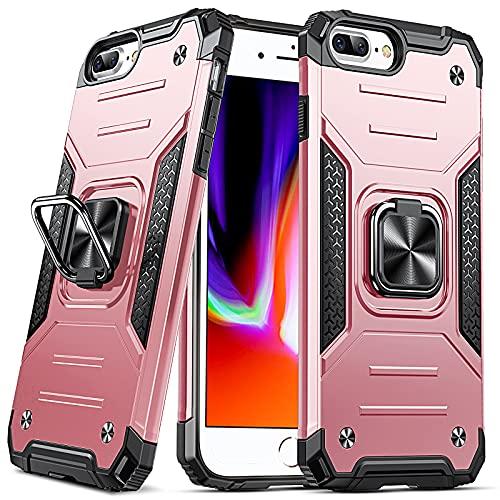 DASFOND Diseñado para Funda iPhone 6 Plus / 6S Plus / 7 Plus / 8 Plus, Funda Protectora para teléfono de Grado Militar con Soporte de Anillo Mejorado [Soporte magnético], Oro Rosa