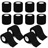 12 Pack Self Adherent Cohesive Wrap Bandages 2 Inches X 5 Yards, First Aid Tape, Elastic Self Adhesive Tape, Athletic, All Sports wrap Tape, Breathable Wound Tape, Bandage Wrap for Wrist, Ankle, Black