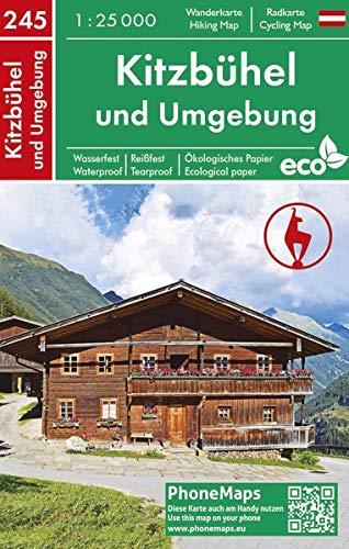 Kitzbühel und Umgebung, Wander - Radkarte 1 : 25 000 (PhoneMaps Wander - Radkarte Österreich, Band 245)