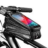 Faireach Rahmentasche Fahrrad mit Handyhalterung, Oberrohrtasche Fahrrad Handy Halterung Wasserdicht mit Fenster für