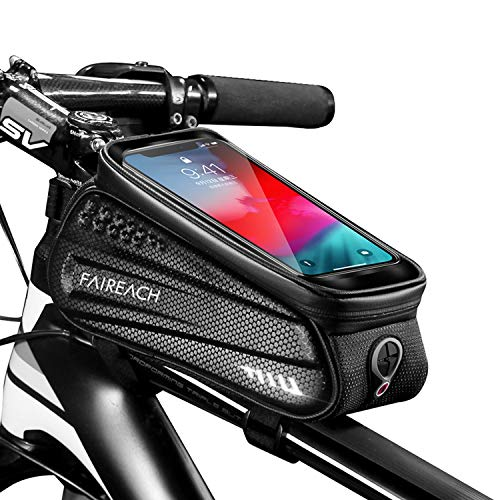 Faireach Bike Frame Bag with Mobile Phone Holder, Bicycle Top Tube Pouch, Waterproof Cycle Cell Phone Mount with Touch Screen Window, for iPhone Samsung Smart Phone up to 6.5''
