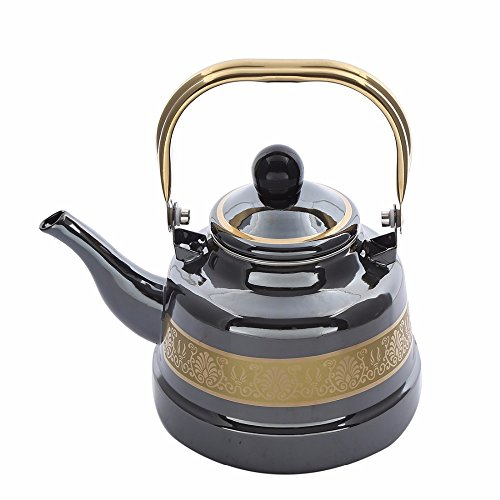 JGU Emaille Wasserkocher Vintage Teekessel Childs Teekessel Pionier Frau Teekessel Induktions-Safe Whistling Herd Kettle-1.7L