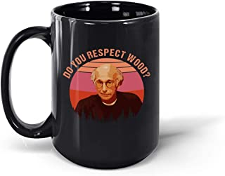 Do You Respect Wood Vintage Sunset Ceramic Coffee Mug Tea Cup (Black, 15oz)