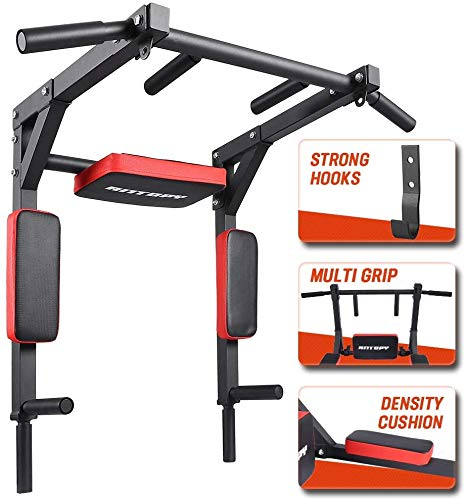 ANTOPY Pull Up Bar Wall Mounted Chin Up Dip Stand Power Tower Multifunctional Workout Equipment Exercise for Home Gym Strength Training Supports to 440lbs