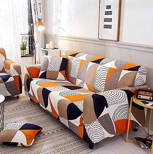 Funda Sofa 4 Plazas Chaise Longue Bohemia Marrón Blanco Fundas para Sofa ,Cubre Sofa Ajustables,Fundas Sofa Elasticas,Funda de Sofa Chaise Longue,Protector Cubierta para Sofá