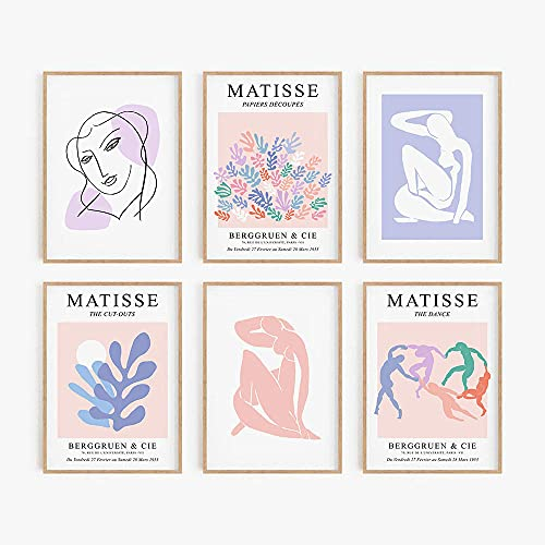 YWCMDH Matisse Abstract Poster Peach Blue Lilla Art Print Minimalista Canvas Painting Modern Pastel Wall Quadro Living Room Home Decorazioni 30x40cmx6/Senza Cornice