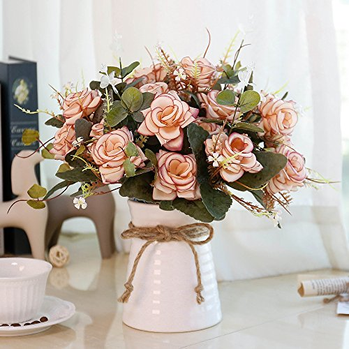 YILIYAJIA Artificial Flowers in Vase Silk Rose Flower Arrangements Fake Faux Flowers Bouquets with Ceramics Vase Table Centerpieces for Holiday Dinning Room Table Kitchen Decoration (Pink)