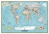 National Geographic French World Wall Map, Carte du Monde en Francais - 43.75 x 30.5 inches - Laminated
