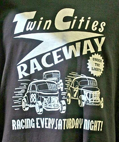 TWIN CITIES RACEWAY SIZE LARGE T-SHIRT TEE RACE CITY RETRO VINTAGE ROCKABILLY TRUCK WILLYS JALOPY STOCK CAR NOSTALGIA MODIFIED DRAG RACING TRACK DIRT GASSER RAT ROD FITS FORD CHEVY DODGE GIFT