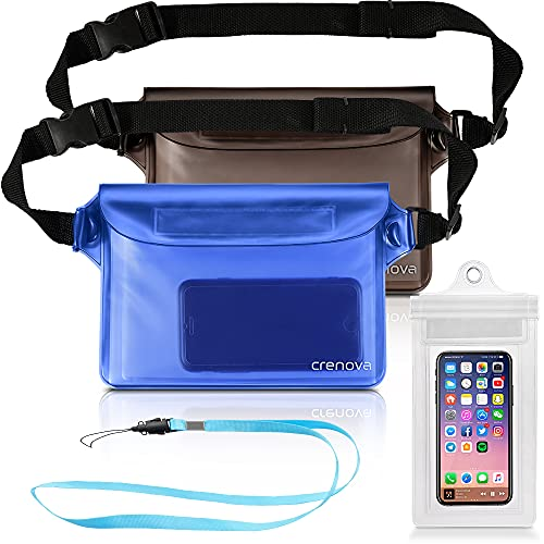 Crenova 2 pack waterproof pouches with waist strap AND 1 screen touchable phone case Super Lightweight, Bigger Space, Adjustable and Extra-Long Belt