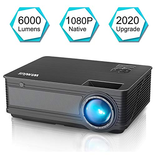 Projector, WiMiUS P18 Upgraded 6000 Lumens LED Movie Projector 1080P Full HD Support 200' Display Compatible with Amazon Fire TV Stick Laptop iPhone Android Phone Xbox PS4 Via HDMI USB VGA AV Black