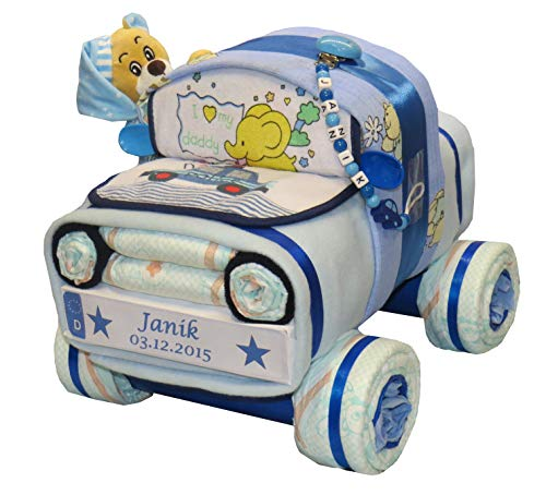 Tarta de pañales, coche de pañales con oso y cadena para chupete, color azul