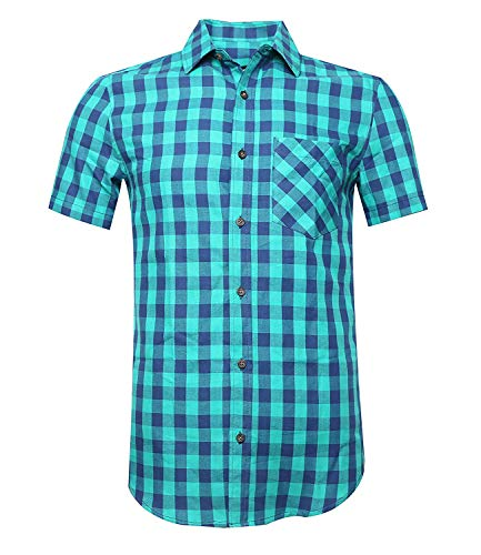 Deborri Men Plaid Cotton Casual Short Sleeve Button Down Dress Shirts Greens