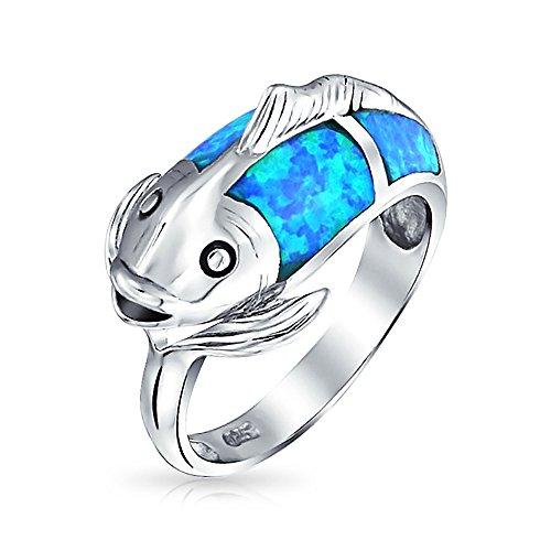 Piscis Zodíaco Azul Náutico Creado Opal Omitir Koi Fish Banda Anillo Para Mujer 925 Octubre Piedra De Nacimiento
