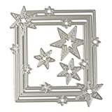 Plantillas de corte de marco de círculo cuadrado con diseño de estrella para manualidades, álbumes de recortes, tarjetas, herramientas de decoración para regalo, acero al carbono, Star Border, medium
