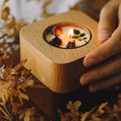WECDS-E Caja de música Caja de música de Madera Creativa Diseño de candelabro Decoración de Mesa Elegante Caja Musical giratoria de cumpleaños (Cuadrada) (Color: One Love)