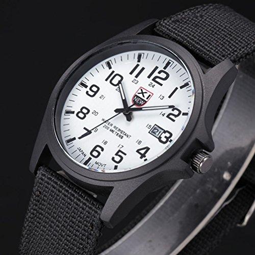 Fenkoo, orologio da polso, da uomo/donna/bambini sportivo/militare, al quarzo, brilla al buio, cinturino in tessuto, nero/argento