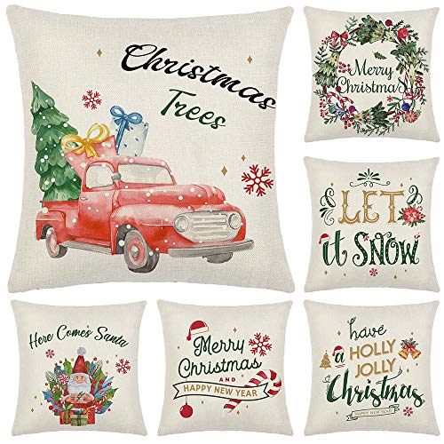 Artivestion Christmas Pillow Covers 18 x 18 Inches Set of 6,Christmas Decorations for Home, Outdoor Christmas Decor,Christmas Decorations Throw Pillow Covers