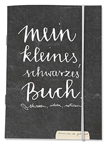 Notizheft, Notizbuch blanko A6 - Mein kleines schwarzes Buch - blanko leer weiß, dickes 170gr. Recyclingpapier, Skizzenbuch, Tagebuch, Skizzenheft mit Gummiband, CO2 neutral
