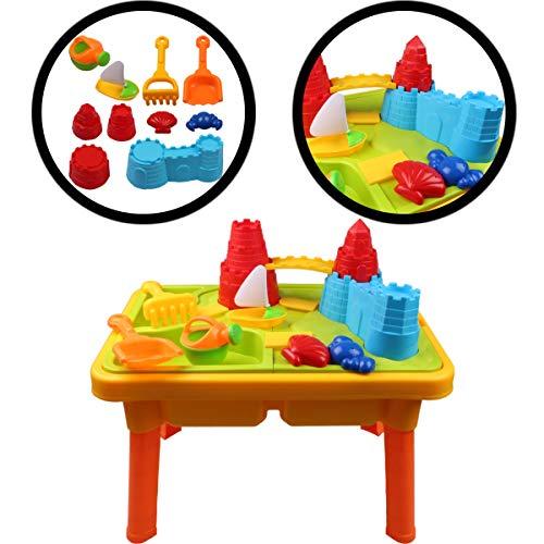 Sand- und Wasserspieltisch mit Burgenlandschaft / Spieltisch für Kinder mit Deckel