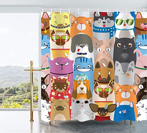 Ao blare Cartoon Pets Shower Curtain,Colorful Pattern with Funny Cats and Dogs Cute Cartoon Pets Waterproof Fabric Shower Curtain Set with Hooks 72 X 72 Inches