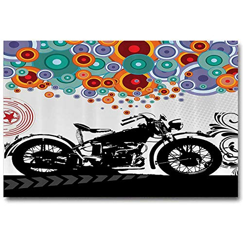 Manly Decor Kitchen Wall Decor Motorcycle and Abstract Circle Shapes Ornament Urban Modern Life Clubs Party Couples Gifts for Christmas Childs L20 x H40 Inch