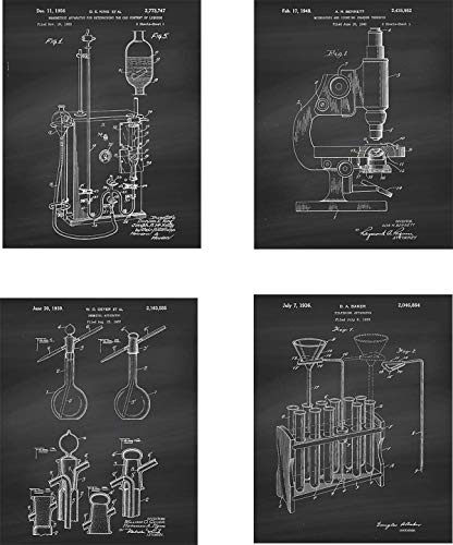 Science Patent Wall Art Prints - set of Four (8x10) Unframed - wall art decor for science lovers