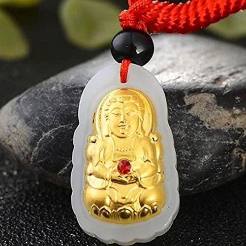 JIUXIAO Collares y Colgantes de Jade de Moda Buda Guanyin Colgante de Oro con Incrustaciones de Jade Collar Largo Mujeres Hombres joyería FinaRegalos