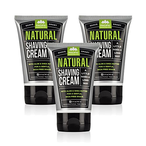 Pacific Shaving Company Natural Shaving Cream - Safe, Natural, and Plant-Derived Ingredients for a Smooth Shave, Softer Skin, Less Irritation, Cruelty Free, 3.4 oz (3 Pack)