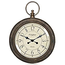 Westzytturm Rustic Wall Clock Large 24inch Silent Non Ticking Battery Operated Pocket Watch Vintage Farmhouse Decorative Wall Clock for Living Room Bedroom Kitchen Office( 24 Retro Brown)