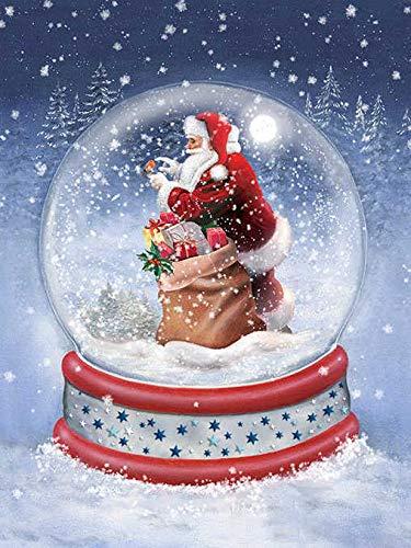 5D DIY Diamant Schilderij Sneeuwbal Thuis Decoratie Strass Ronde Diamant Borduurwerk Kerstmis Sinterklaas Afbeelding