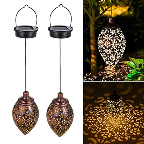 Tom-shine Hanging Solar Lights (2 Pack) Solar Lantern LED Garden Lights Metal Lamp Waterproof for Outdoor Hanging Decor (2 Pack)