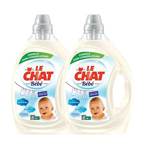 Le Chat Bébé - Lessive Liquide Hypoallergénique - 88 Lavages (Lot de 2 x 2,2L)